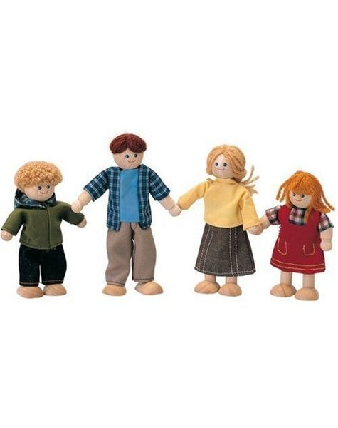 Dolls House Family of 4 Flexible Wooden Doll Dollhouse Miniature Figures