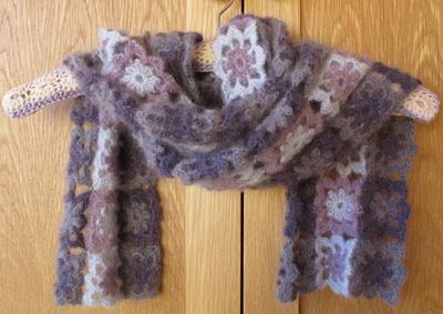 A lovely use of mohair in a motif scarf