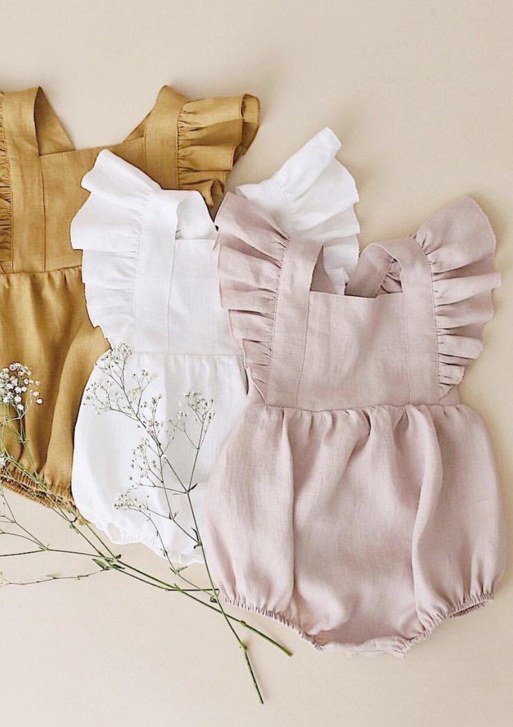 Handmade Vintage Style Flutter Sleeve Linen Baby Rompers