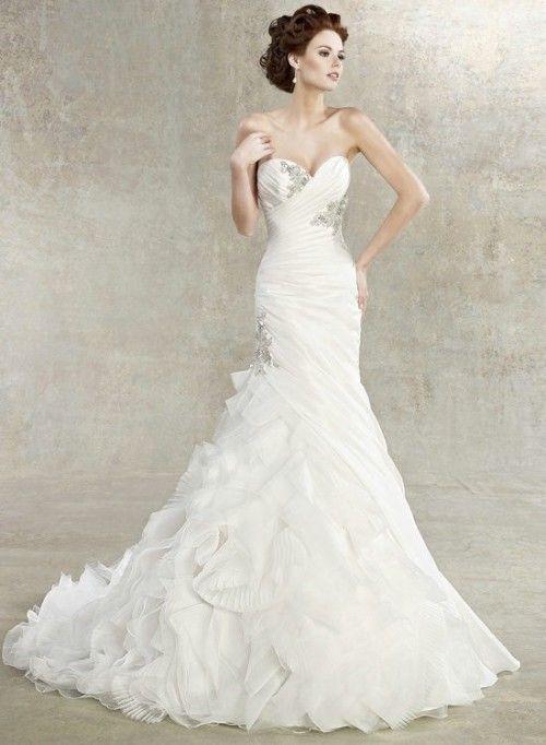 Beading Sweetheart White Organza Ruffles Mermaid Tail Wedding Dress ...