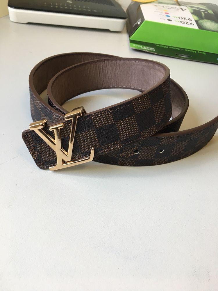 Louis Vuitton Damier Graphite LV Initiales Mens Belt Brown