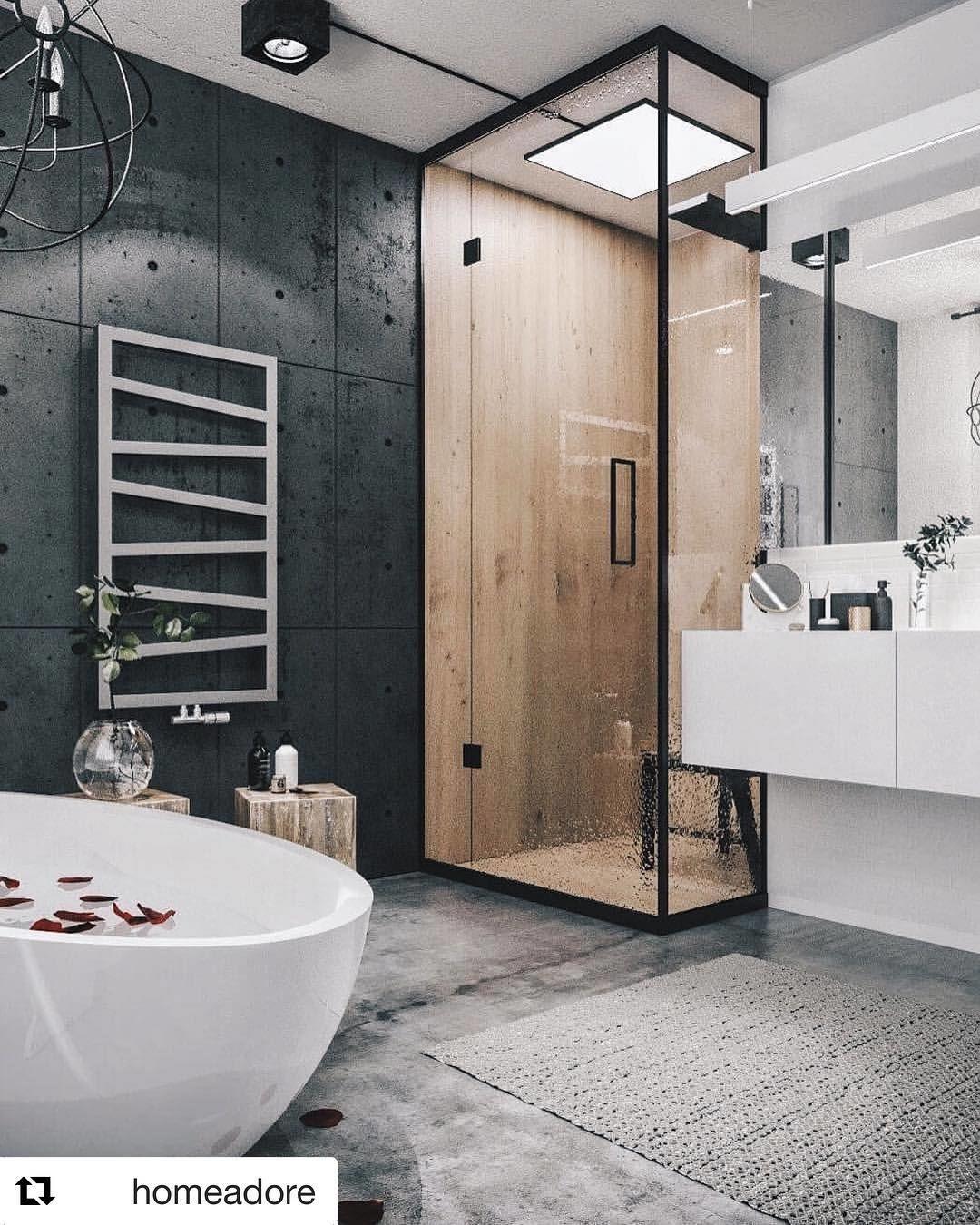 Nowoczesna łazienka w stylu industrialnym 😍 Betonowe ...