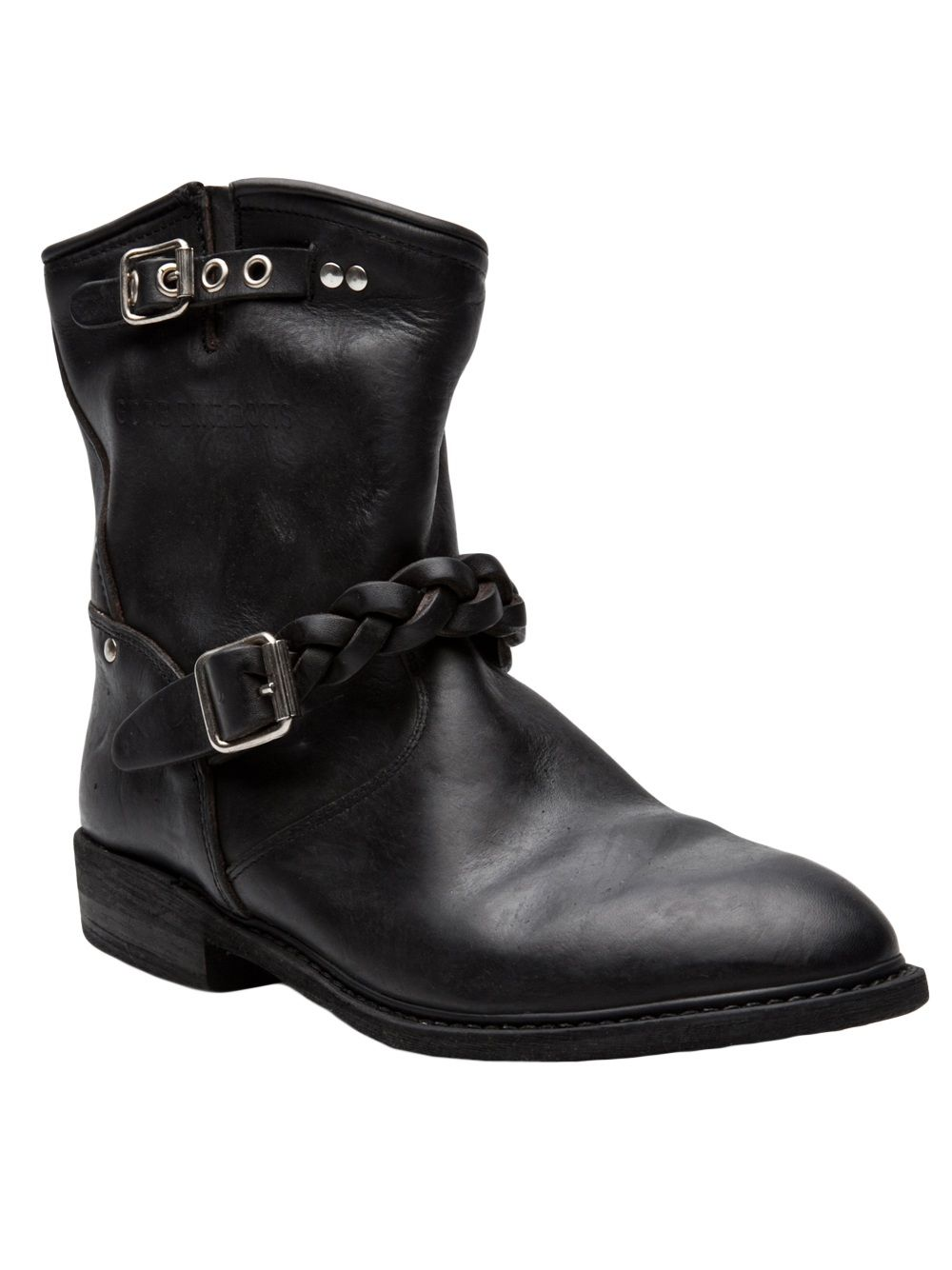 """Golden Goose Deluxe Brand  Short biker boot - Short biker boot in black from Golden Goose Deluxe Brand. This leather biker boot features a round toe, braided cross strap with a silver buckle fasten, contrasting suede detail throughout, and a small side strap with silver buckle fasten. Has round silver stud detail, tonal seam stitching, and shearling lining. Has a 7"""" shaft."""