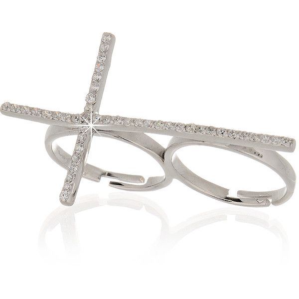 JOOLS CROSS Silver Crystal Ring ($81) ❤ liked on Polyvore featuring jewelry, rings, accessories, acessorios, bijoux, adjustable silver rings, white ring, crystal rings, adjustable rings and white crystal rings