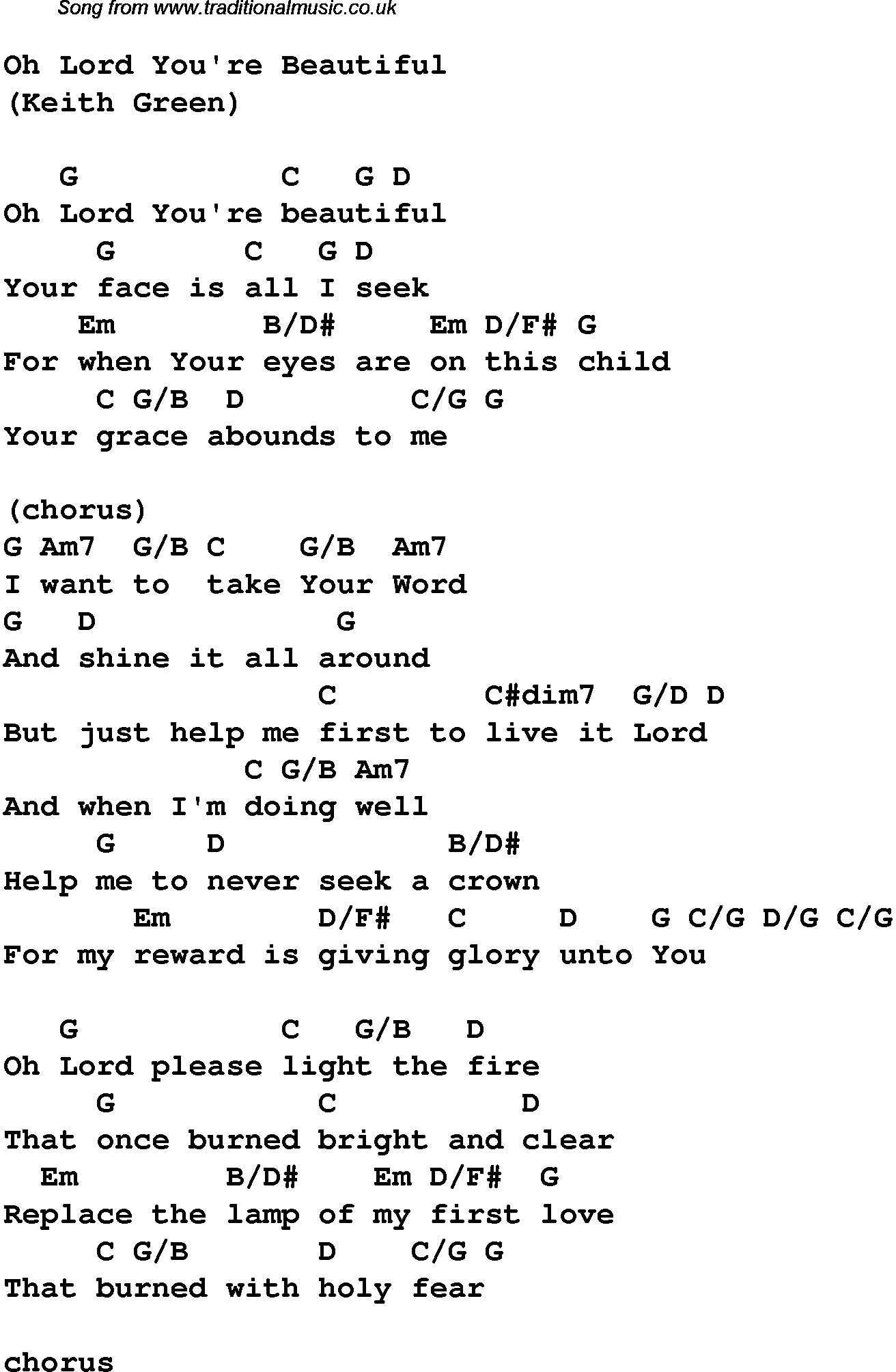 Christian Music Chords And Lyrics