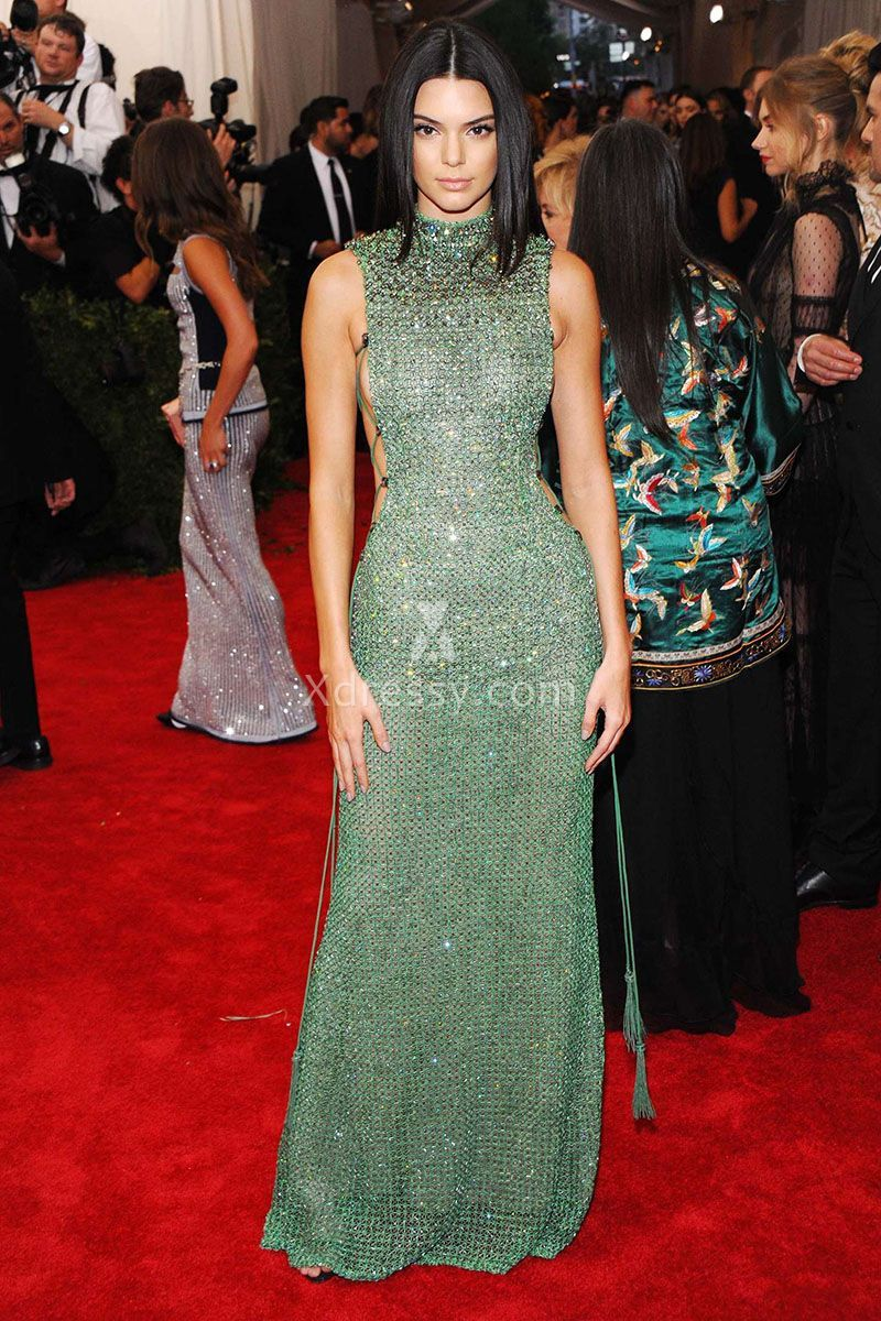 ca759479e84 Kendall Jenner Green Sequin High Neck Prom Dress Met Gala 2015 Red Carpet