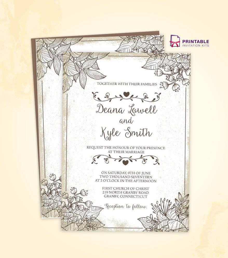 Free To Download Wedding Invitation Template Make Your Own Vintage Wedding Invitations Templates Free Wedding Invitation Templates Vintage Wedding Invitations