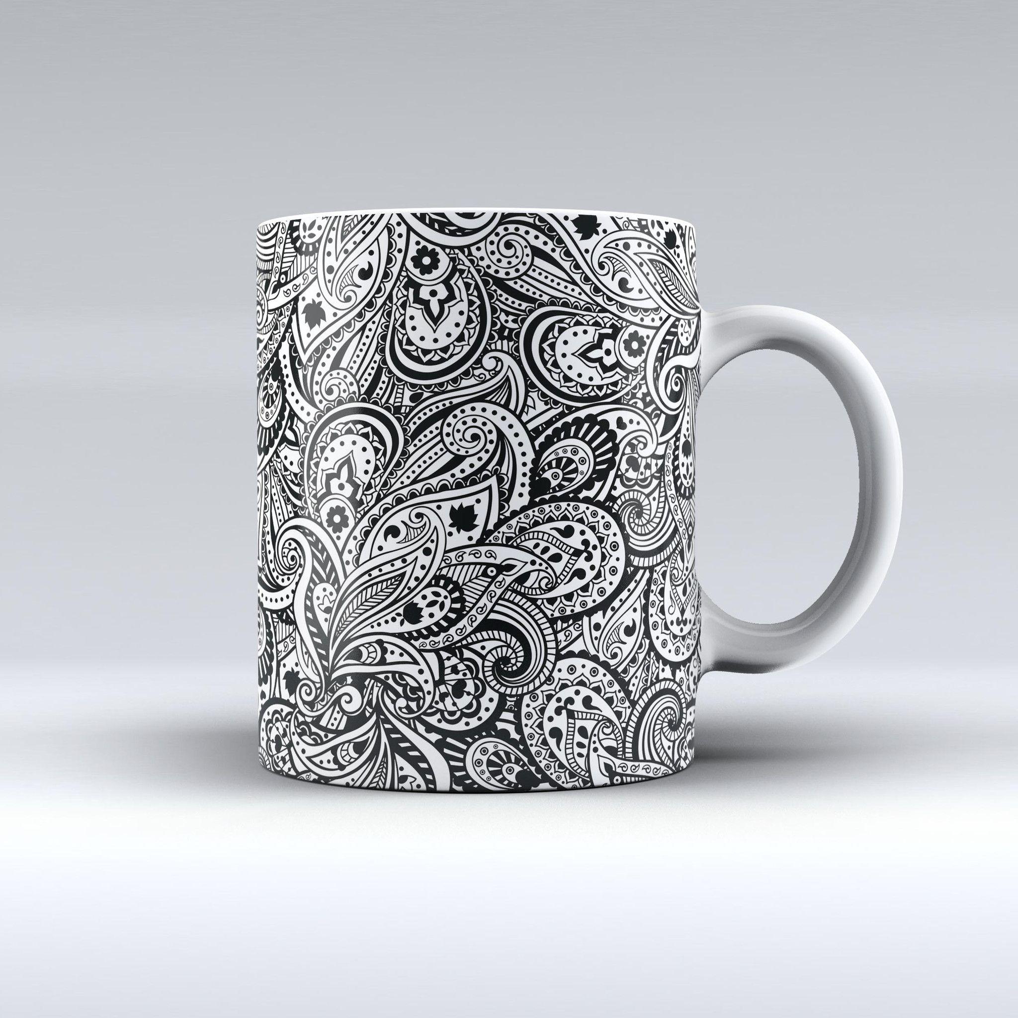 The Black and White Aztec Paisley ink-Fuzed Ceramic Coffee Mug | INK ...