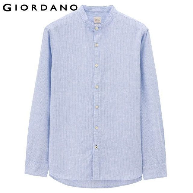 Men Shirt Home Linen Shirts Men Long Sleeves Blouse Mandarin Collar Tops Clothing Casual Shirt
