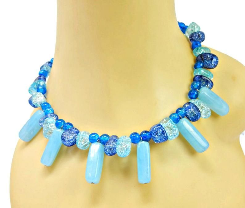 Vintage Glass Beaded Necklace Light Blue Round /& Rectangle Beads