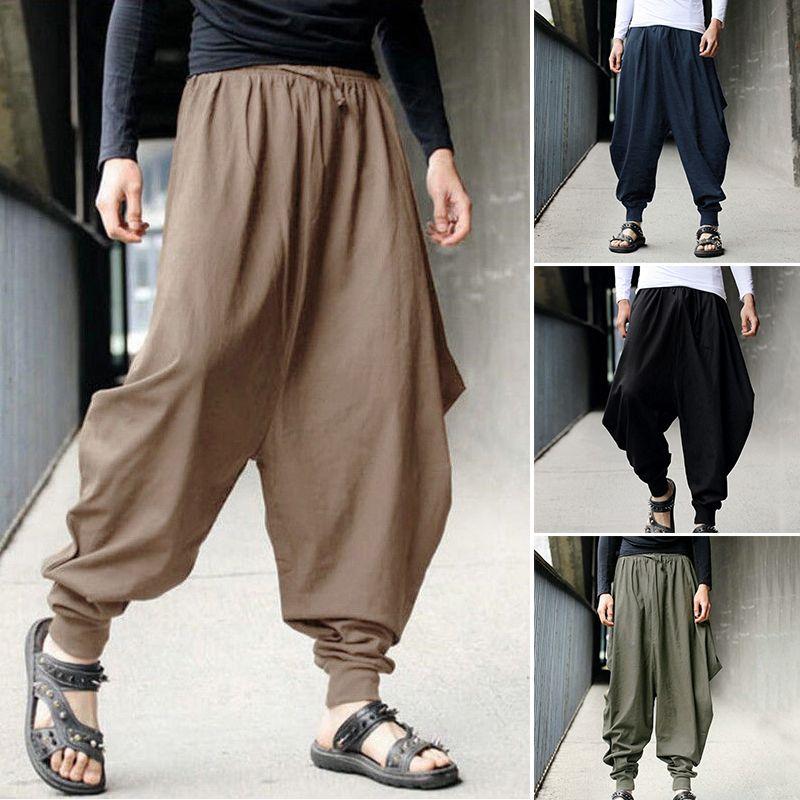 3XL Cotton Men Loose Wide Leg Pants