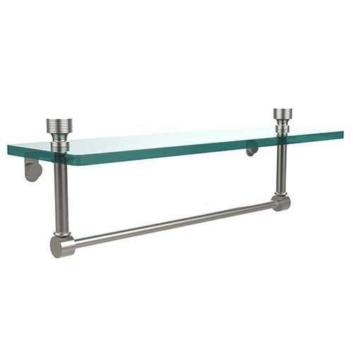 Satin Nickel Single Shelf With Towel Bar In Satin Nickel