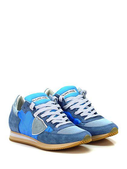 PHILIPPE MODEL PARIS - Sneakers - Donna - Sneaker in camoscio, tessuto e pelle con suola in gomma. Tacco 25. - AZZURRO\JEANS - € 230.00