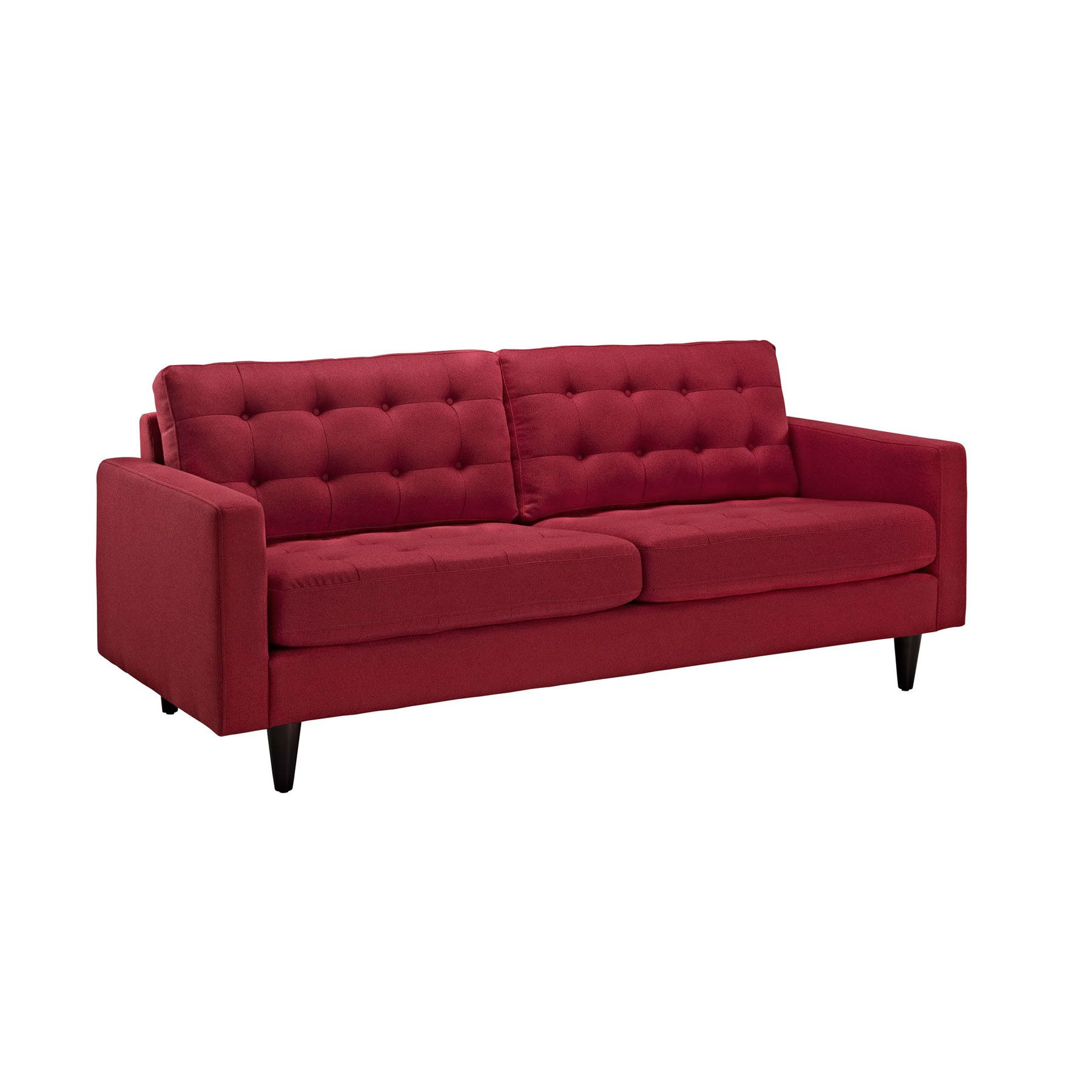 Wrap yourself in contemporary design with the red fabris for Mid century furniture online