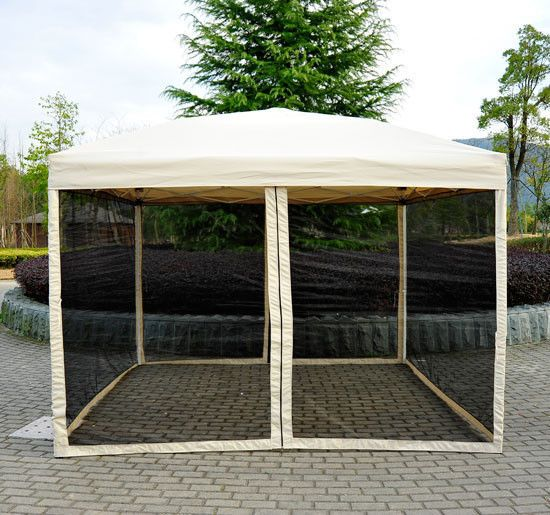 Outdoor Gazebo Canopy 10u0027 X 10u0027 Pop Up Tent Mesh Screen Patio Shade Tan