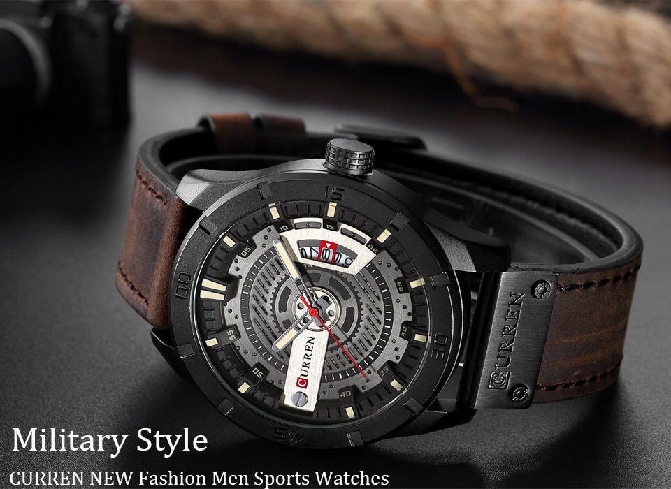 Hot Luxury Brand Curren Men Military Sports Watches Men S Quartz Date Clock Man Casual Leather Wrist Watch Relogio Masculino Taki