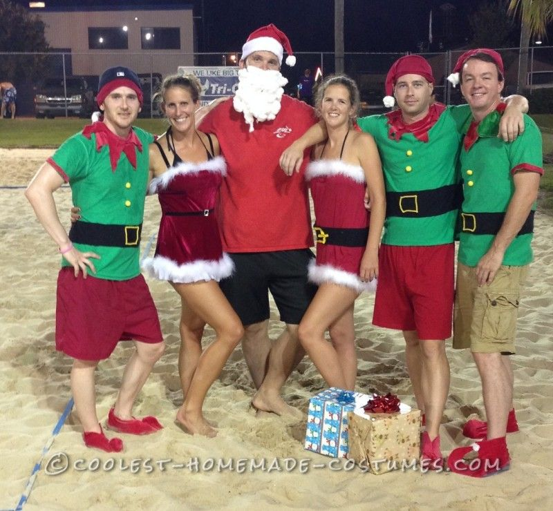 Easy No Sew DIY Christmas In July Group Costume
