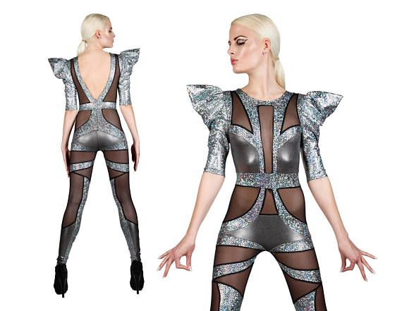 7db4b21080055 Space Alien Catsuit in Silver, Sexy Dance Costume, Circus Costume ...