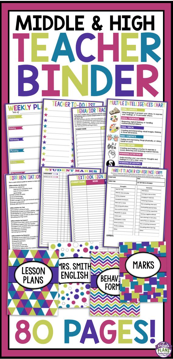 Teacher binder | Classroom Ideas | Teacher binder, Middle