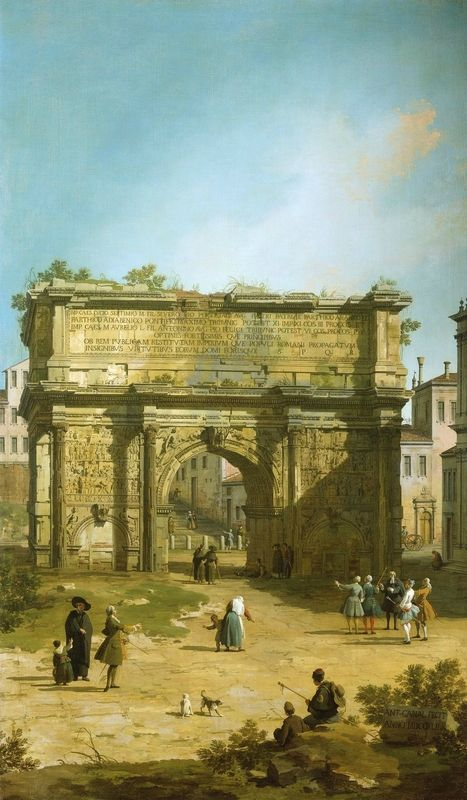 Canaletto (Venice 1697-Venice 1768), The Arch of Septimus Severus, 1742, part of a set of five Roman view. Oil on canvas, 192.2 x 106.5 cm, RCIN 400700, Royal Collection Trust/ © Her Majesty Queen Elizabeth II 2016