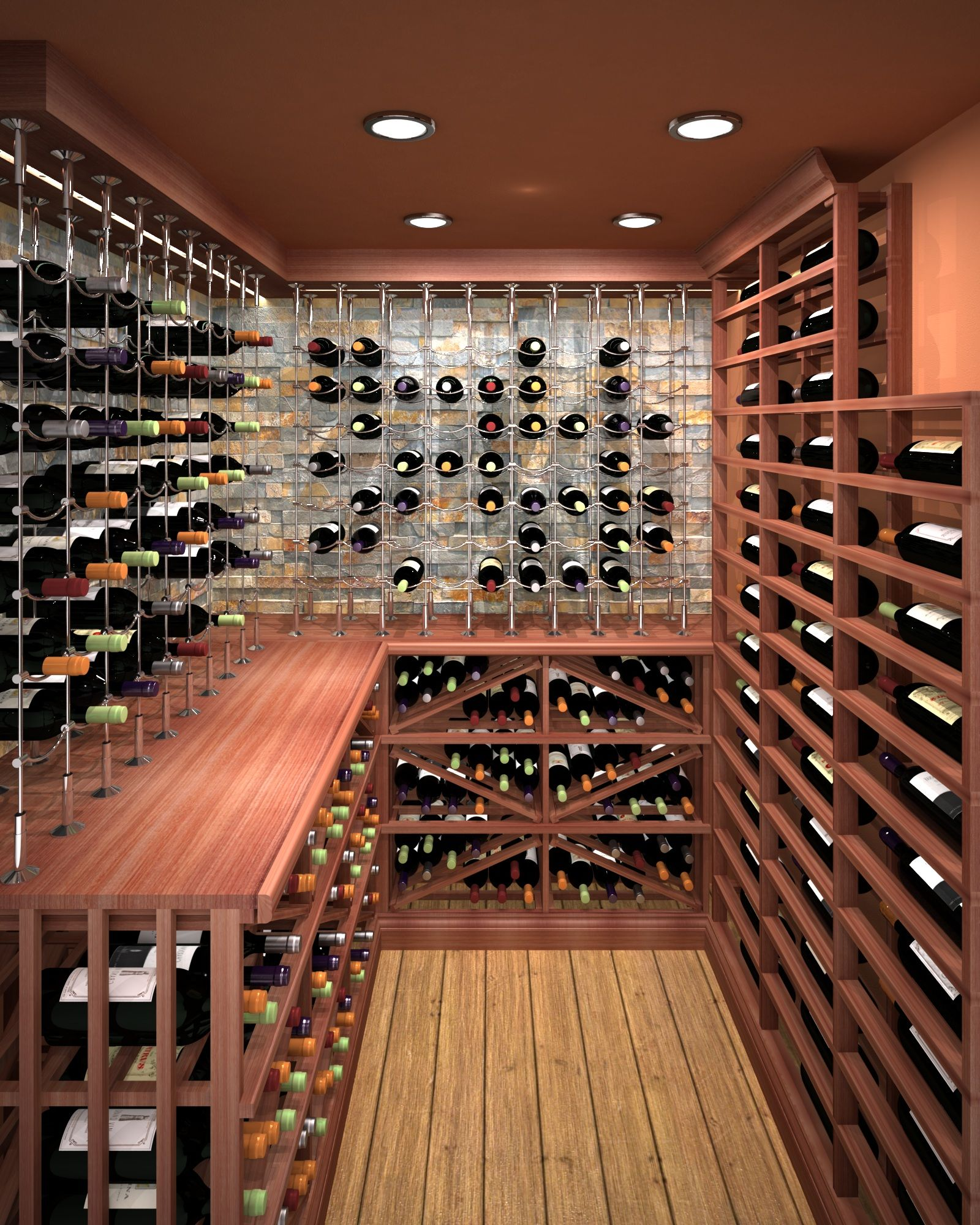 Mahogany Custom Wine Cellar Featuring The Cable Wine System Wooden Wine Rack Wine Cellar Design Custom Wine Cellars