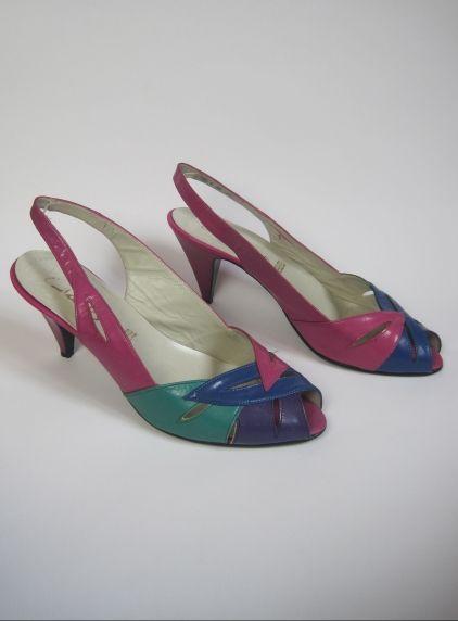 838c5f2e6ba09 Vintage 1980s Colour Block Peep Toe Slingback Sandals | Women's ...