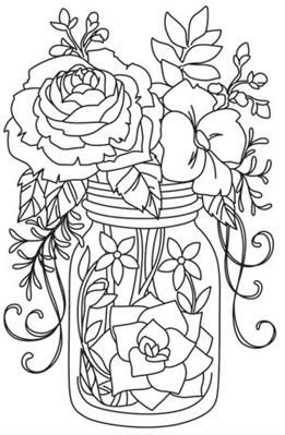 Mason Jar Coloring Page Extraordinary Kaleidoscope Blooms  Mason Jar_Image Would Be Cute In Color On A Design Ideas