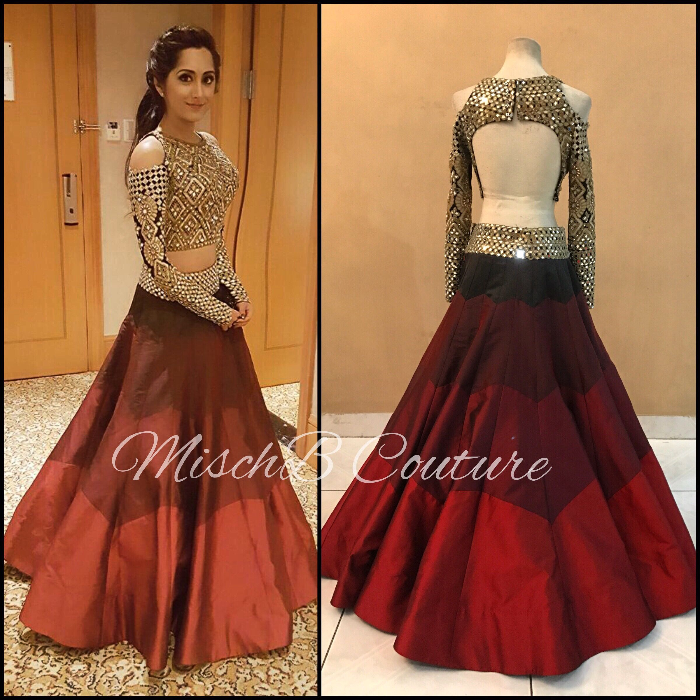 Lehenga blouse design in golden color and mirror work - Mirrorwork Lehenga By Mischb Couture