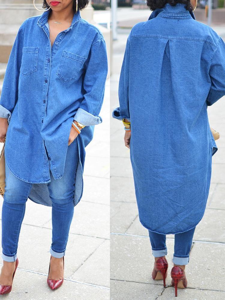 Demin High Low Shirt Dress   Denim dress outfit, Oversized denim ...