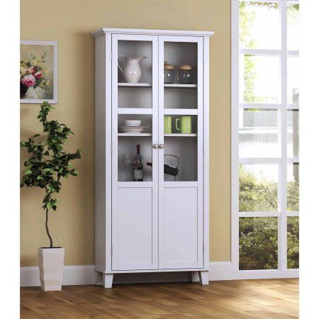 Homestar 2 Door Pantry Cabinet With Glass Doors Walmart Com White Storage Cabinets Tall Cabinet Storage Glass Cabinet Doors