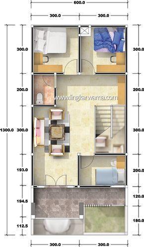 Denah Rumah Dua Lantai Dengan Luas Lahan 78m2 Luas Bangunan