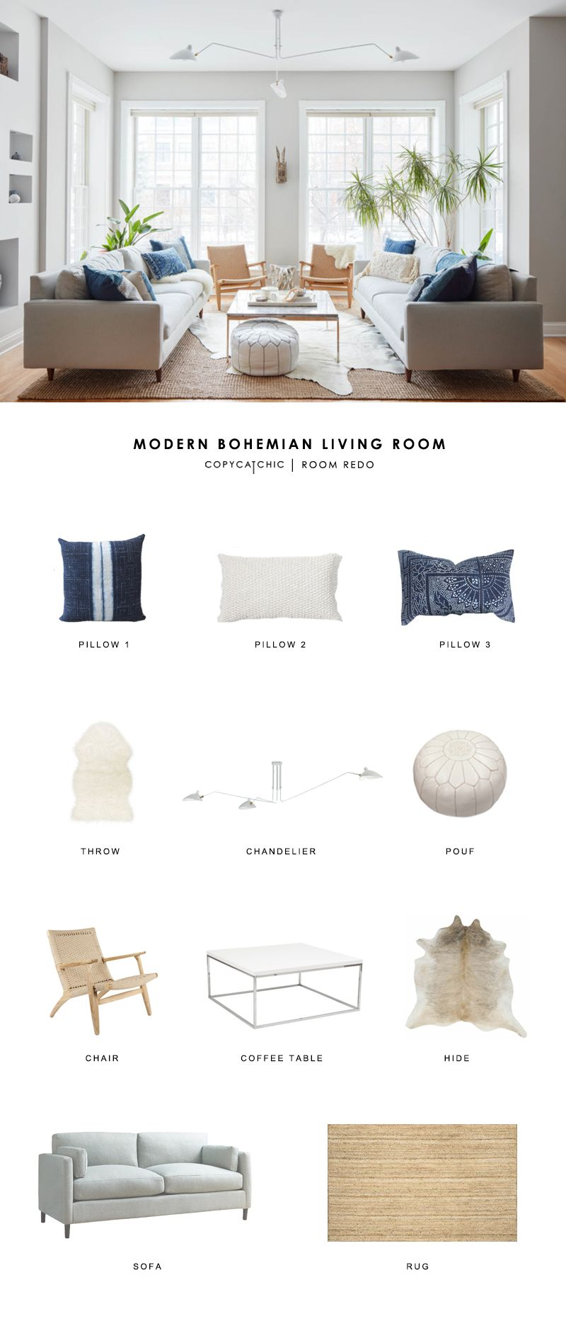 Boho Modern Living Room: Copy Cat Chic Room Redo