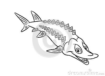 Beau Sturgeon Fish Illustration Coloring Pages