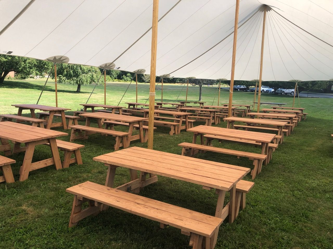 Add These Picnic Tables To Your Next Rental For A Rustic Natural Feel Picnictables Sailclothtent Rusticvibes Picnic Table Outdoor Chairs Table