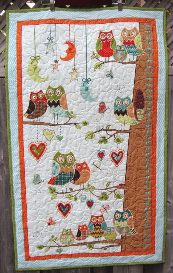 Owl Toddler Quilt Growth Chart Boy Baby Bedding By Diningout