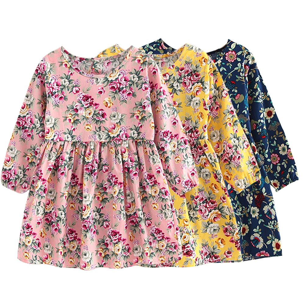 Summer Baby Kids Dresses Children Girls Long Sleeve Floral Princess
