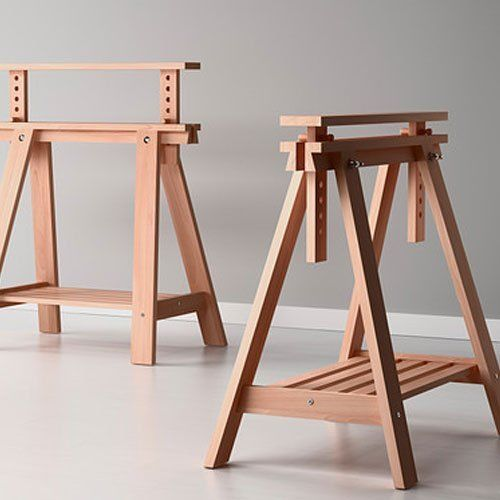 Beech Wood Desk Table Leg Trestle With Shelf Height And Angle Adjustable  Als #NotApplicable
