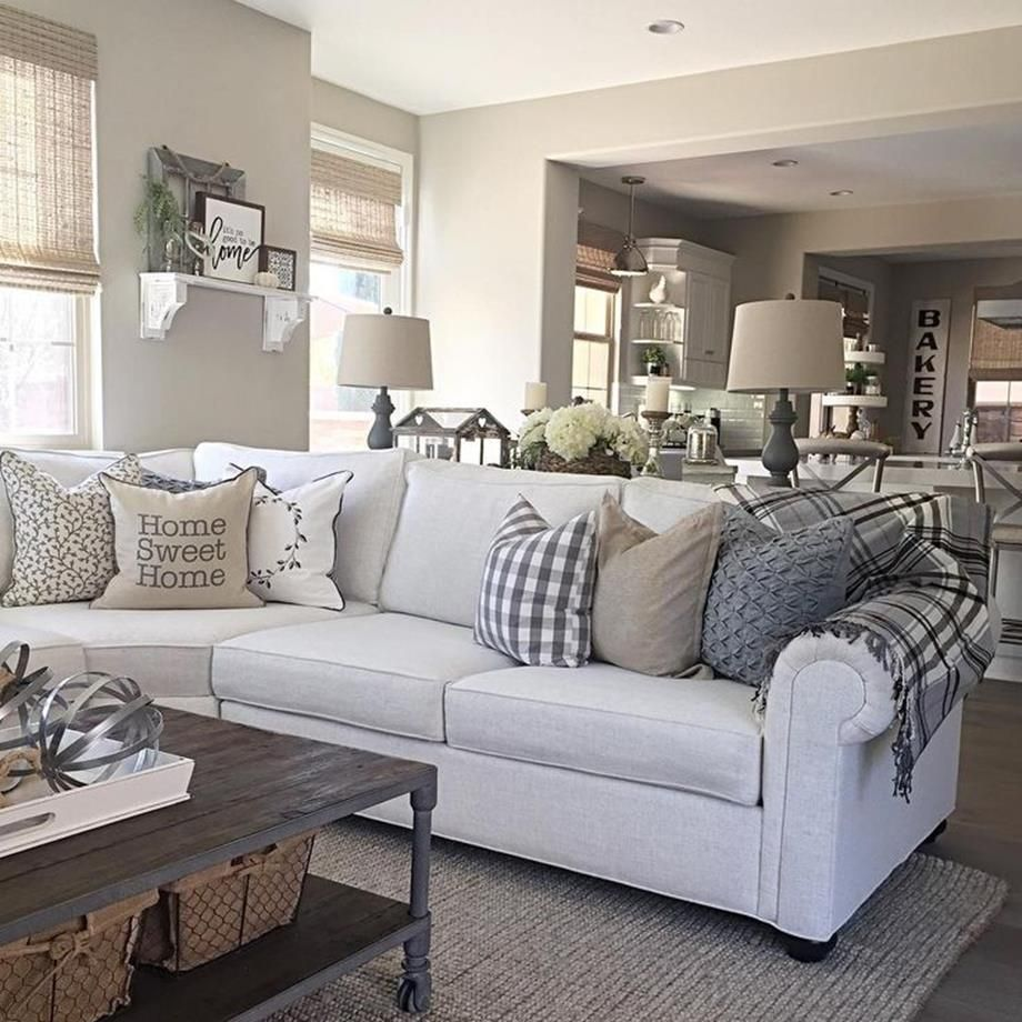15 Modern Living Room Ideas: Farmhouse Living Room Grey With Teal Decorations 15