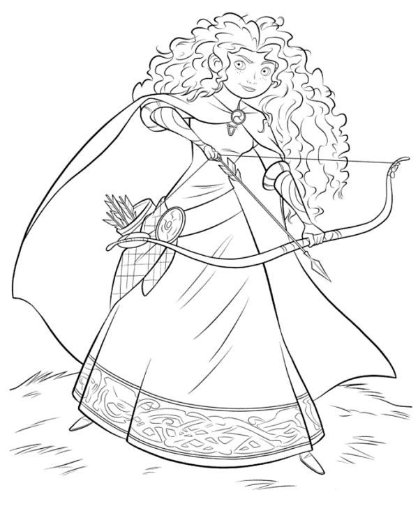 coloring page Brave  Merida with bow and arrow  Coloring pages