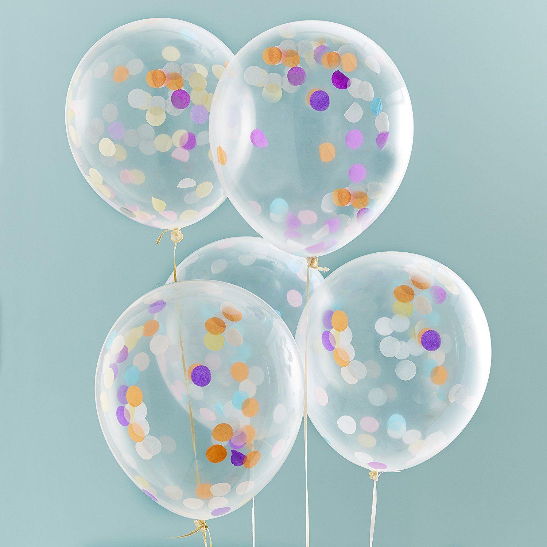 Ginger RayPick /& Mix 30cm Ballons mit Konfetti in Bunt ca 5 St/ück