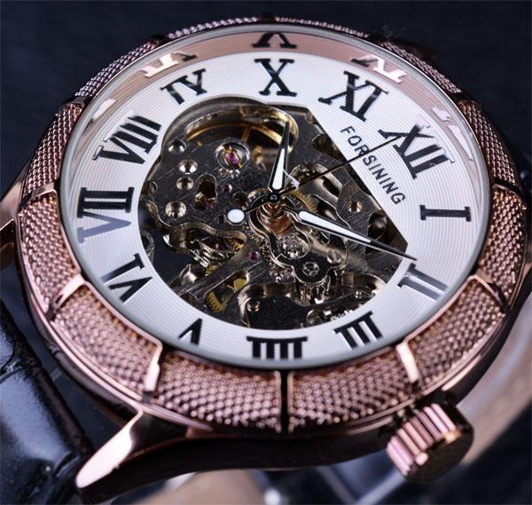 Forsining Skeleton Watch Transparent Roman Number Watches Men Luxury Brand  Mechanical Men Big Face Watch Steampunk Wristwatches 6b36206a938