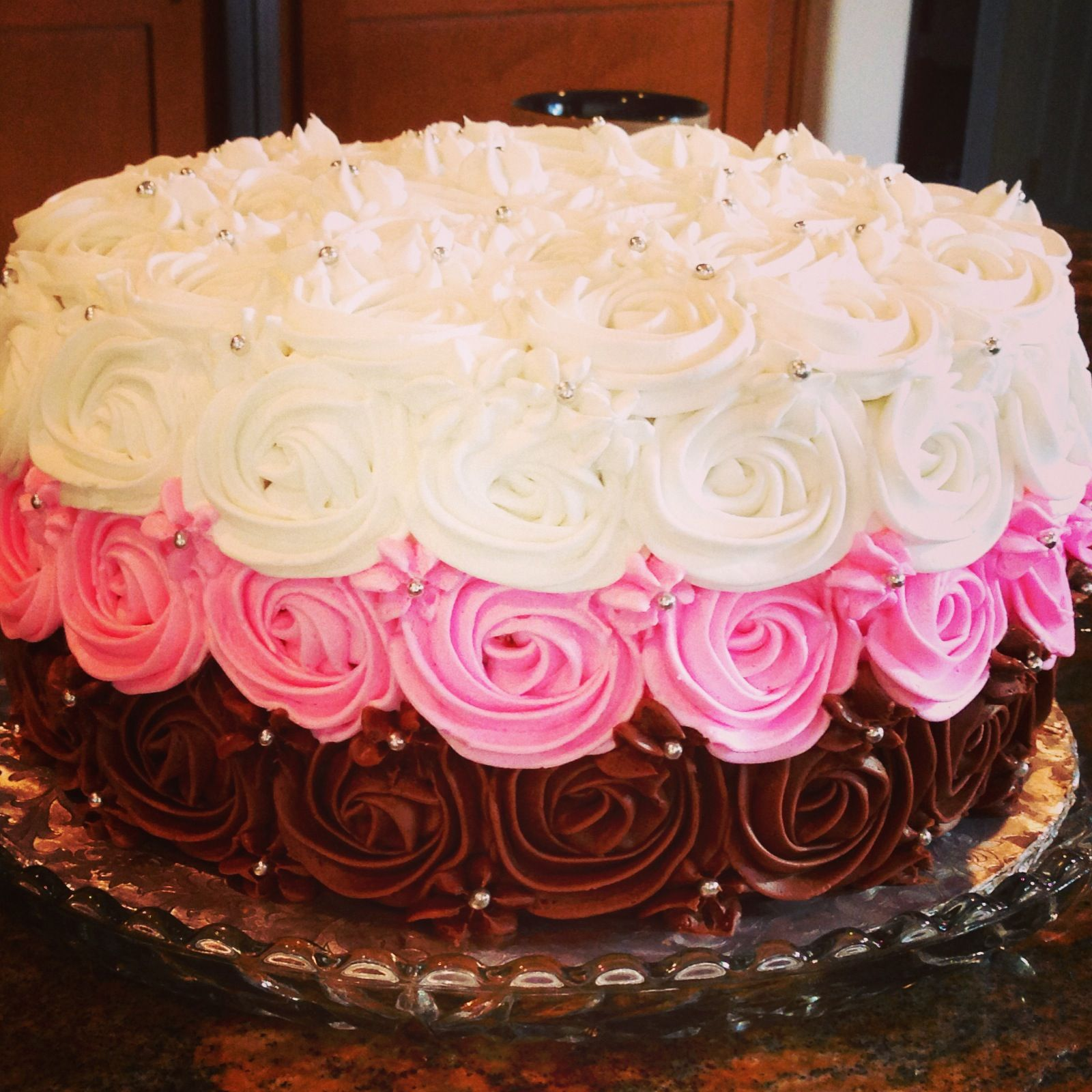 Napoleon Rose Birthday Cake With A Strawberry Chocolate And