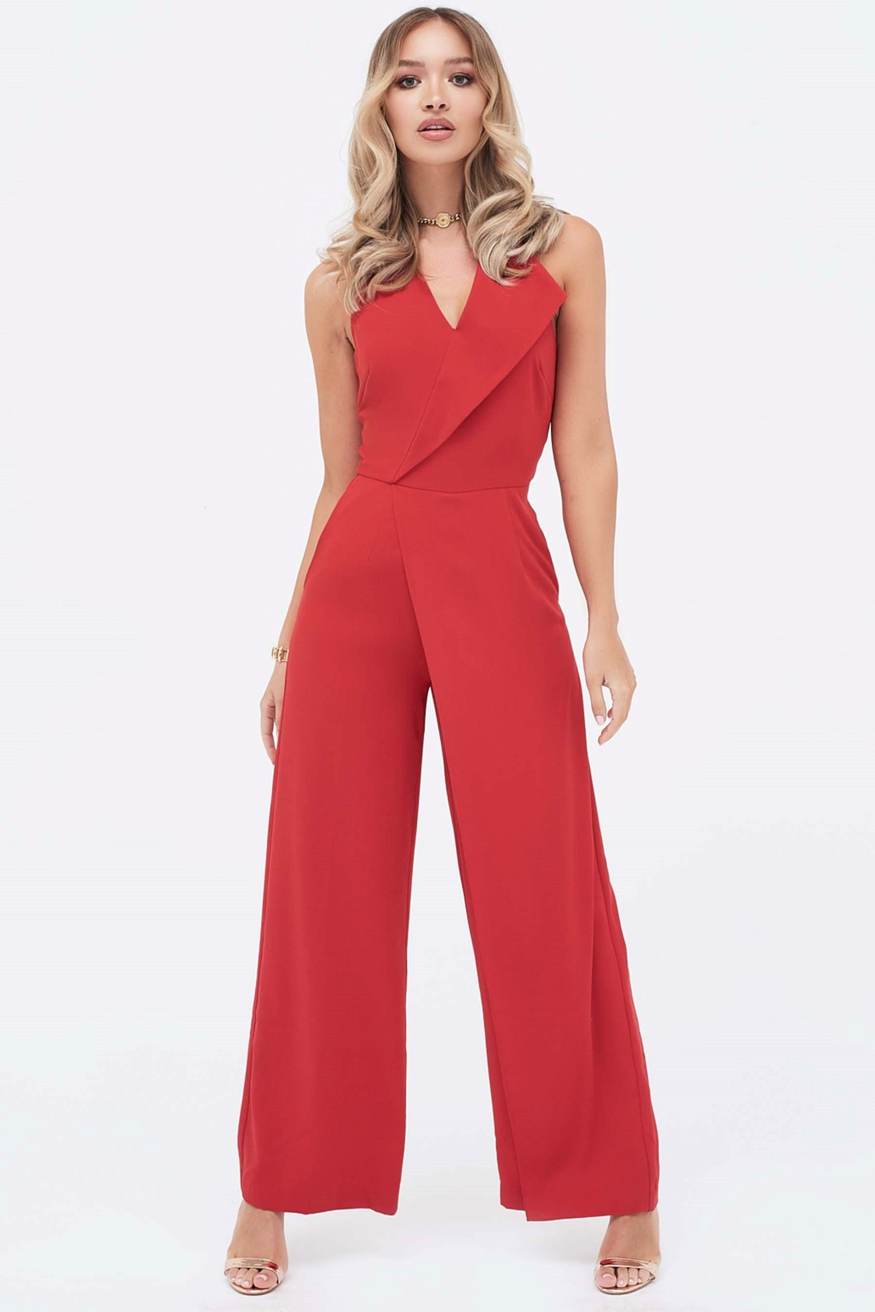 ff24d5b9210b Womens Lavish Alice Oversized Halterneck Wide Leg Jumpsuit - Red ...