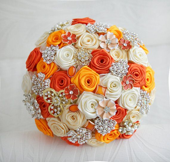 Jeweled Bouquet Brooch bouquet Made upon request Ivory and Red wedding brooch bouquet