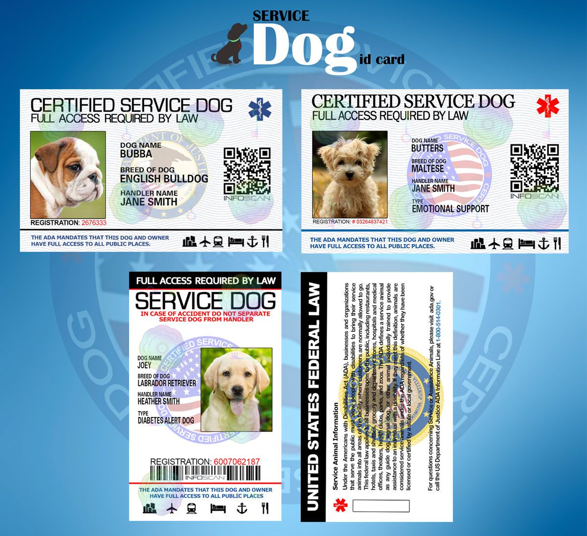 2 99 Professional Hd Printed Service Dog Id Card Customize Ada Animal Badge Tag Ebay Home Garden Service Dogs Dog Id Dogs