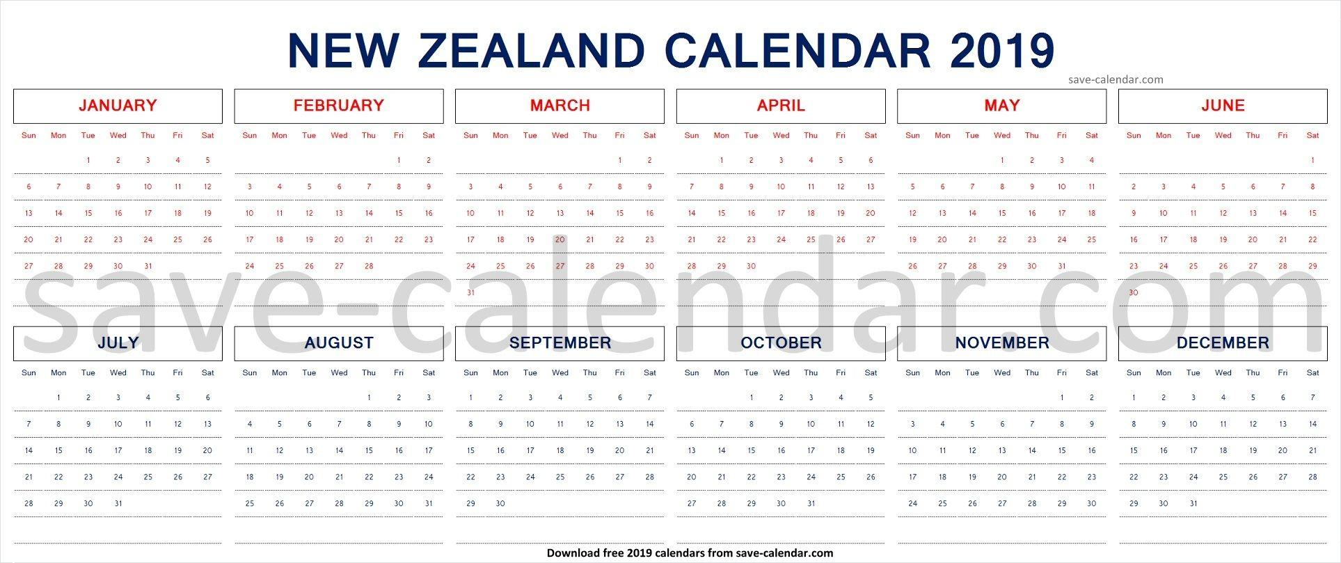 2019 Calendar Nz With Public Holidays Template Printable 2019