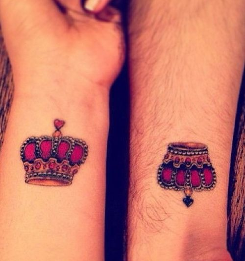 cute crown designs on wrist tattoos for couple Small Cute Wrist Tattoos Designs