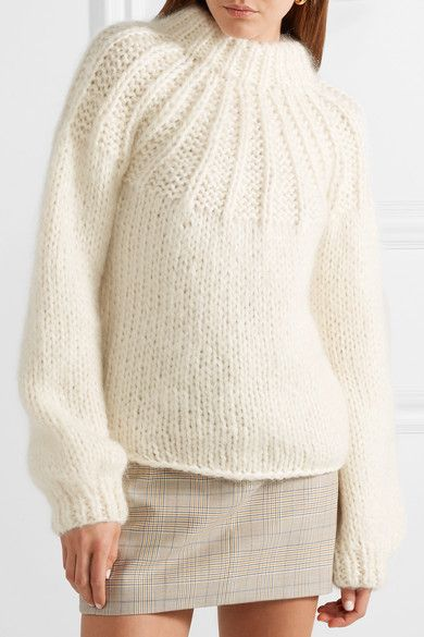 GANNI - Julliard Bow-embellished Mohair And Wool-blend Sweater - Cream 05ef2fa18