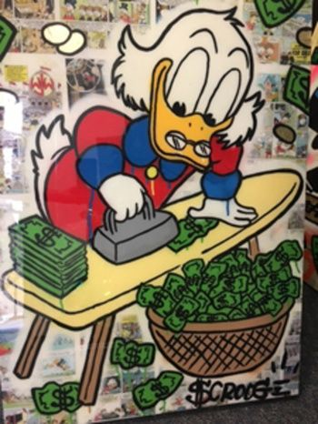Scrooge Ironing Money With Images Sale Artwork Street Artists