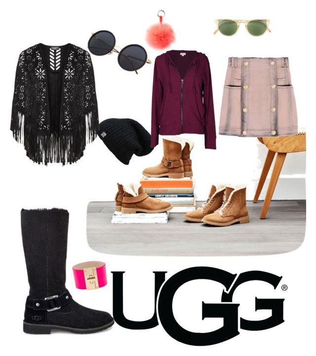 """The New Classics With UGG: Contest Entry"" by clauturchin on Polyvore featuring UGG, CC SKYE, Velvet by Graham & Spencer, RAJ, Oliver Peoples, Balmain and ugg"